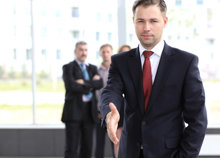 good deal: A business man with an open hand ready to seal a deal Stock Photo