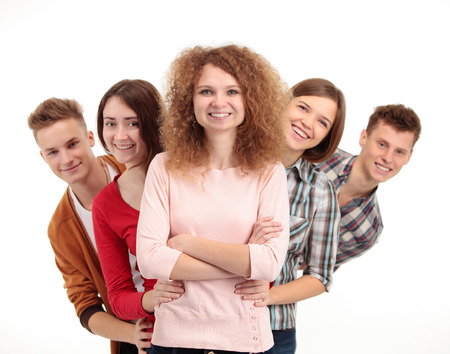 pass test: group of happy students full of success isolated over a white background
