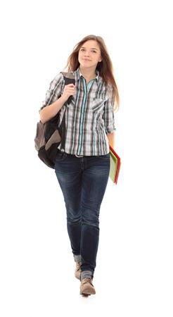 좋은 여성 학생 미소하고 카메라를 찾고 스톡 콘텐츠