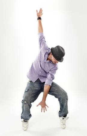 aerobica: hip hop dancer isolated over white