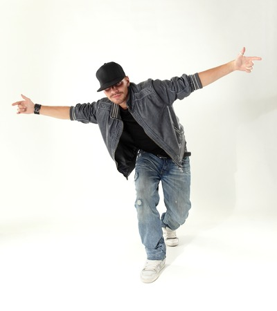 aerobica: hip hop dancer isolated over white  Stock Photo