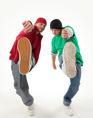 hip-hop style dancers posing on isolated photo