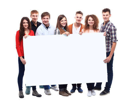 group of smiling friends holding blank banner  photo