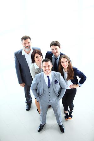 사업 사람들의 상위 뷰 사무실에서 행복 웃는 비즈니스 팀 스톡 콘텐츠