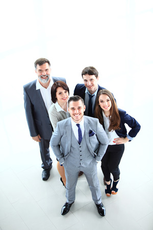 Top view of business people  Happy smiling business team in office