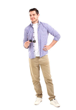 bristly: Stylish man wearing sunglasses, standing over white background   Stock Photo