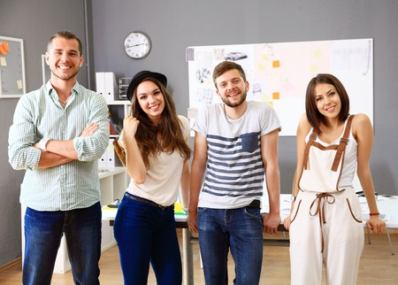 Group of People Working Together Stock Photo