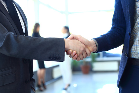 consulting: businesss and office concept - two businessmen shaking hands in office
