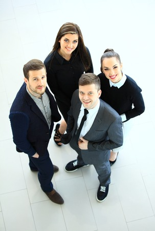 work group: Top view of business people. Happy smiling business team in office Stock Photo