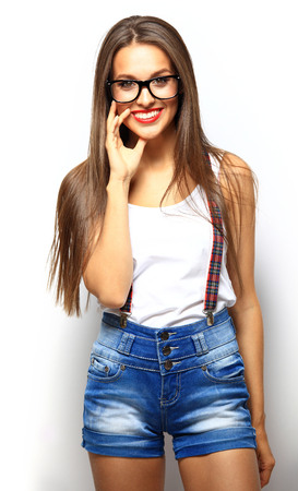 woman  glasses: High fashion look.glamor stylish beautiful young woman model with red lips in summer bright colorful hipster cloth Stock Photo