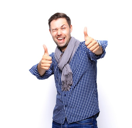 only man: Happy man with thumbs up gesture, isolated on white Stock Photo