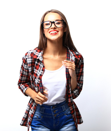 glasses eye: High fashion look.glamor stylish beautiful young woman model with red lips in summer bright colorful hipster cloth Stock Photo