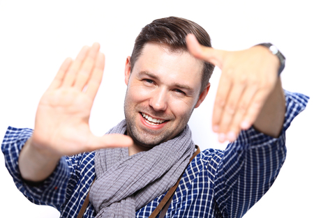 funny people: Handsome casual man smiling - isolated over a white background Stock Photo