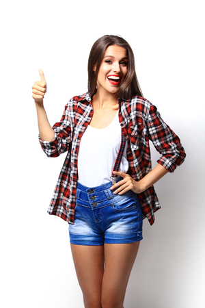 Attractive woman presenting something Stock Photo