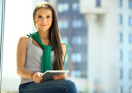 office space: Modern business woman in the office with copy space