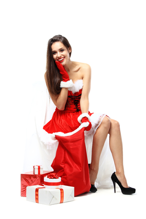 pretty face: beautiful sexy girl wearing santa claus clothes