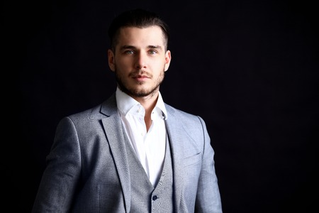 one man: Portrait of a handsome stylish man in elegant suit