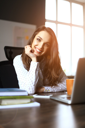 Happy Young Beautiful Woman Using Laptop, Indoors.