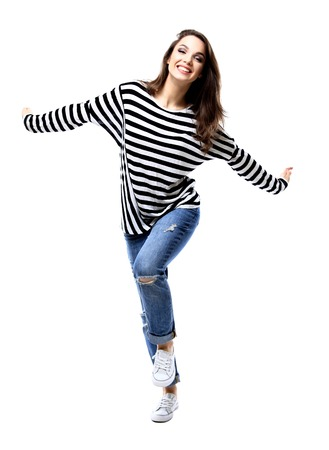 excited people: happy crazy excited woman screaming. Beautiful ecstatic female model. Stock Photo
