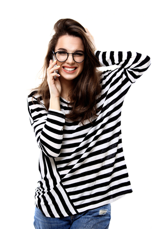 smile face: Happy woman phone talking. Face with toothy smile, isolated over white Stock Photo