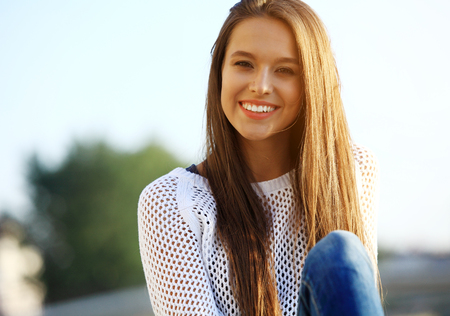 woman smiling: Portrait Of Young Smiling Beautiful Woman