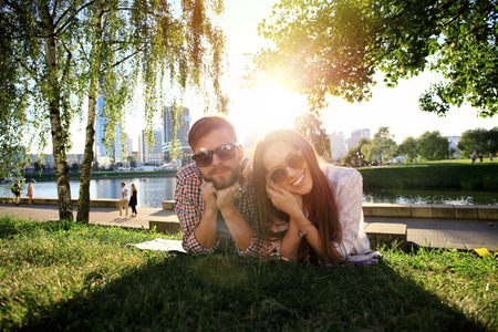 romantic love: happy romantic couple in love outdoor in summer day, beauty of nature, harmony concept Stock Photo