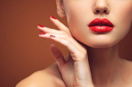 sexy mouth: Red Sexy Lips and Nails closeup. Open Mouth. Manicure and Makeup. Make up concept. Kiss