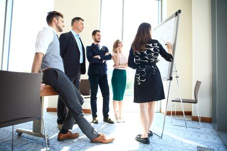 Woman making a business presentation to a group. Standard-Bild