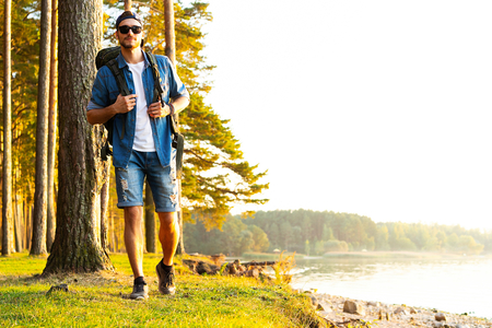 Active healthy man hiking in beautiful forest Stock fotó