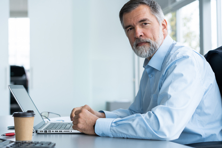 Senior businessman working on laptop computer in the office. Stockfoto