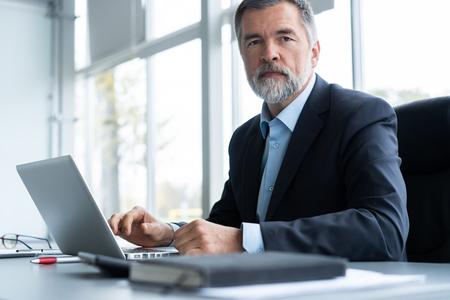 Hombre de negocios mayor que trabaja en la computadora portátil en la oficina.