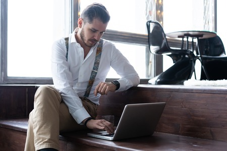 Young male blogger recording video at home. Stock Photo - 116097740