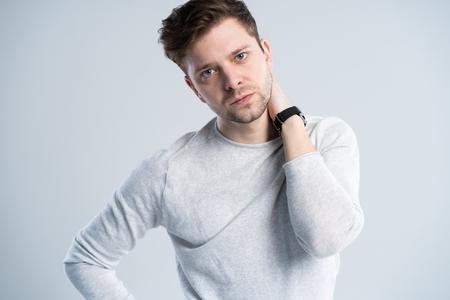 Good looking guy in white t-shirt, portrait. Stok Fotoğraf