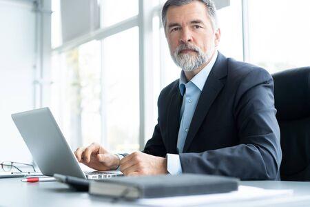 Senior businessman working on laptop computer 스톡 콘텐츠
