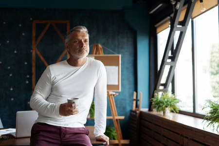 Casual Grey-haired Mature handsome businessman entrepreneur startup owner stand in modern office, posing in work space Foto de archivo