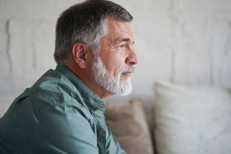 Portrait of attractive pensive senior man sitting in sofa at home and looking at window. Reklamní fotografie