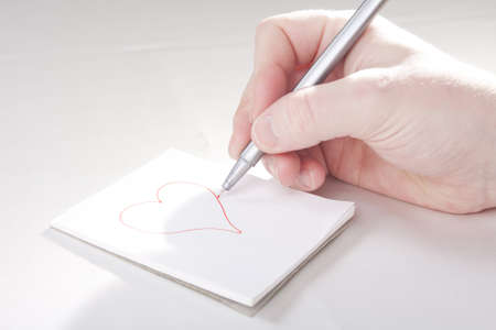 Drawing Lovely Heart for Valentine Stock Photo