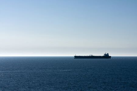 gasoil: Silhouette of a Motor Tanker Stock Photo