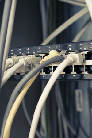 Several Cables Connected to Server Stock Photo