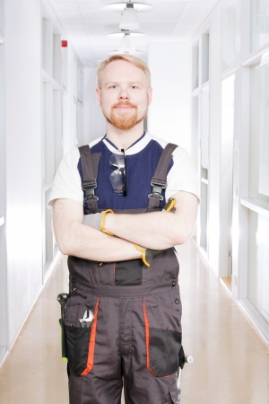Worker at Corridor 版權商用圖片