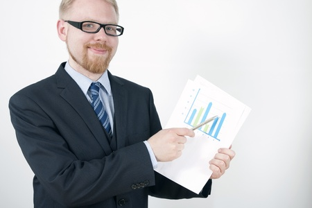 net income: Manager Posing with Results Chart Stock Photo