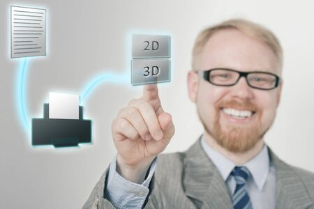 Smiling Businessman Selecting Three Dimensional Print on Virtual Touchscreen photo