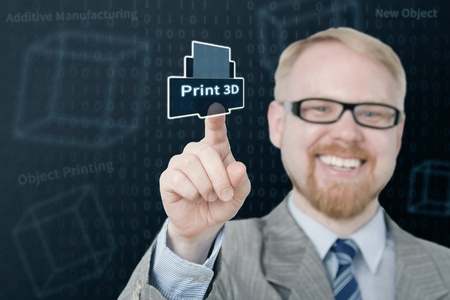 Smiling Man Selecting Virtual 3D Printing Button Stock Photo - 21024304