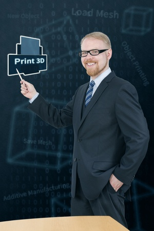 Man in Suit Presenting 3D Printing Stock Photo - 21024307