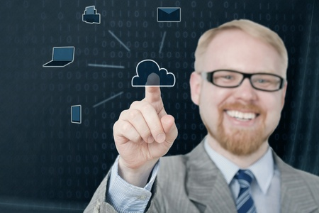 Smiling Man in Suit Selecting Cloud Icon Stock Photo - 21024309