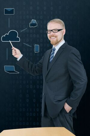 Man in Suit Presenting Cloud Service Icons