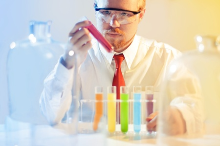 laboratorian: Man Picking Sample That Matches Color of His Tie