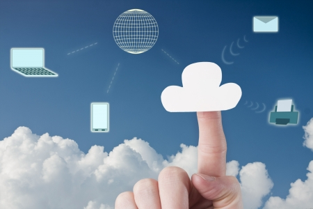 Connecting Laptop and Phone to Cloud Services Stock Photo - 23097359
