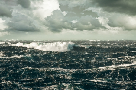 Huge Wave Crashing Down at Storming North Atlantic Stock Photo