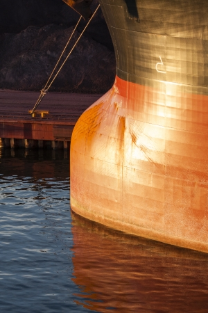 Bulbous Bow of Huge Moored Ship